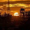 夏空 工場と夕日