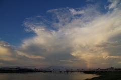 8月21日夕焼け 虹