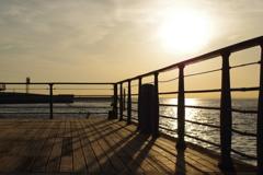 大阪港に沈む夕日 1