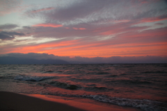 8月1日琵琶湖夕日1