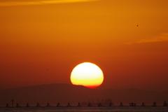 大阪港に沈む夕日 2