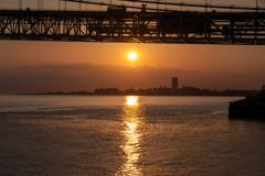 明石海峡大橋の夕陽 2