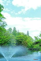 噴水と青空とトトロ
