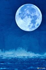 波と月の図