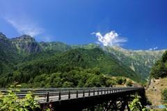 笠ヶ岳を望む風景