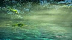 光芒川霧の流れ