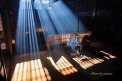 脇本陣奥谷 囲炉裏の光