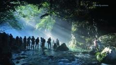 円原川の光芒(皆さんの撮影風景)
