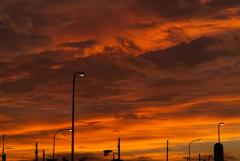 朝焼けの光の中に立つ街灯