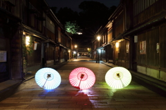 東茶屋街を彩る和傘