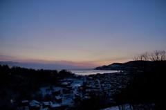 高台から見た夜明け