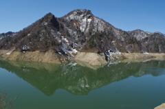渇水のダム湖・・・
