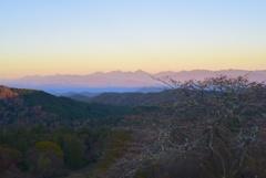 紅葉と南アルプスの夕焼け