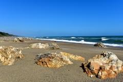 白波が押し寄せるロングビーチ