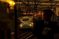 新幹線でレンズのテスト