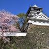 桜と青い空と小倉城 広角編