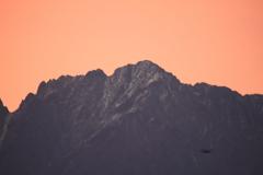 昨日の日中気温で雪が少し溶けた立山連峰 剱岳