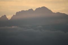 今朝の立山連峰 剱岳