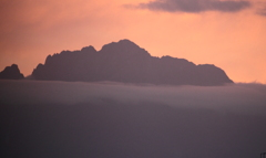 今朝の立山連峰・・剱岳