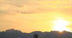 輝かしい朝の立山連峰