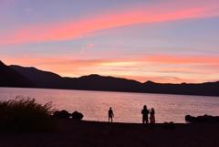 本栖湖の夕暮れ