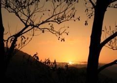 遠くの朝陽