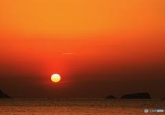夕陽に染まる空