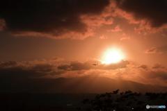 夕陽の中を