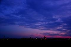 夕暮れと街の灯り @豊田安城サイクリングロード