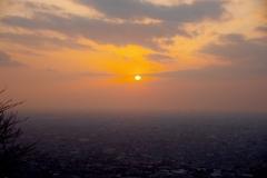 河内平野の夕陽@水呑地蔵尊