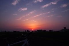 サイクリングの夕陽 @新安城付近