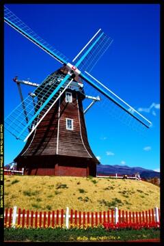 風車と桜と赤城山と③