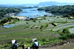 水のある風景 2 【島々と棚田を描く】