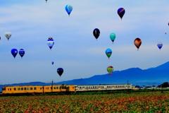 気球と共に・・・電車が走る