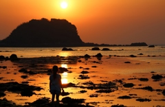 少女と夕陽
