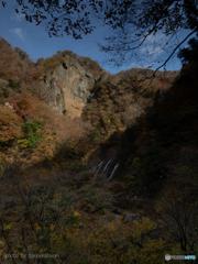 屏風岩と袋田の滝