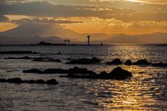 台風通過時の夕焼け1