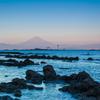 秋の夜明け富士1