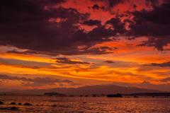 台風通過時の夕焼け2