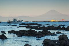 秋の夜明け富士3