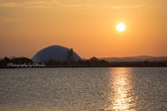 ドームと朝陽