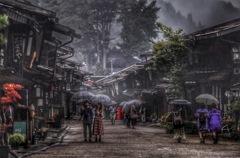 雨霧の中山道