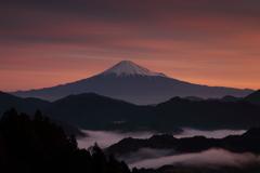 富士山と雲海と朝焼けと。。。