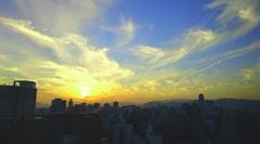 本日の夕焼け空と雲