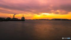 川崎港の夕景