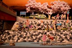 どこか懐かしい川原の桜