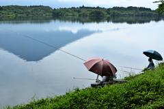 田貫湖と釣り人