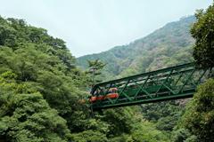 鉄橋を渡る登山列車