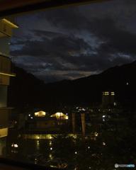 台風の川治温泉郷