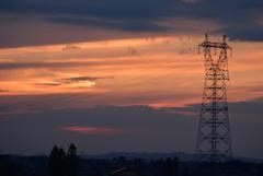 富山平野部の夕焼け